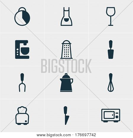 Vector Illustration Of 12 Cooking Icons. Editable Pack Of Slicer, Kitchen Dagger, Timekeeper And Other Elements.