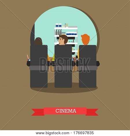 Cinema concept vector illustration. Movie theater with people watching film flat style design element.