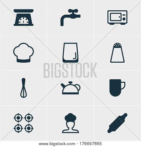 Vector Illustration Of 12 Cooking Icons. Editable Pack Of Tea Cup, Teakettle, Corolla And Other Elements.