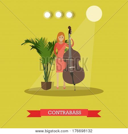 Vector illustration of musician female playing contrabass. Young woman playing double bass string musical instrument flat style design element.