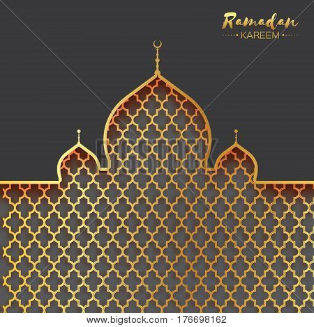 Gold metal Mosque. Origami Ramadan Kareem Greeting card with arabic arabesque pattern. Holy month of muslim. Space for text. Vector illustration.