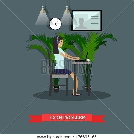 Vector illustration of emergency police service control room operator. Controller female taking incoming calls from public people flat style design.