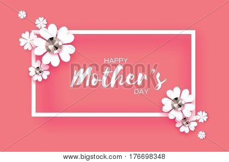 White Floral Greeting card with Brilliant stones. International Happy Mothers Day. Women's Day with Paper cut flower. Floral holiday. Beautiful bouquet. Rectangle frame. Pink. Vector illustration.
