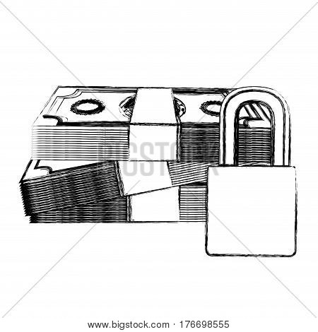 monochrome sketch of bills and coins with padlock protection of close up vector illustration