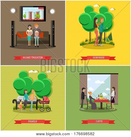 Vector set of happy loving couples posters. Home theater, Surprise, Family and Date flat style design elements.