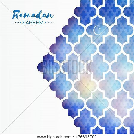 Blue Window. Origami Ramadan Kareem Greeting card with arabic arabesque pattern. Holy month of muslim. Vector illustration.