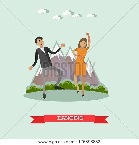 Vector illustration of dancing couple. Outdoors wedding party guests flat style design element.