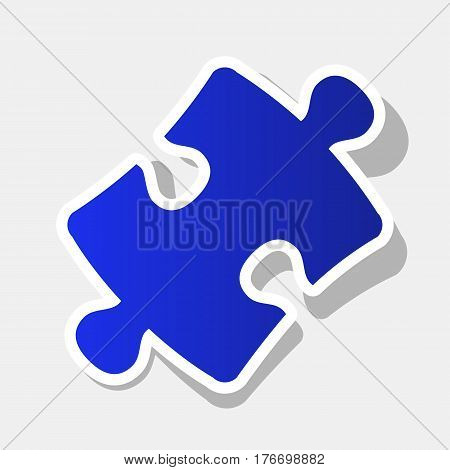 Puzzle piece sign. Vector. New year bluish icon with outside stroke and gray shadow on light gray background.
