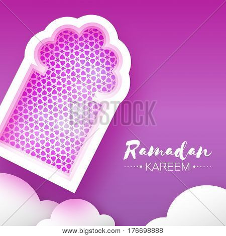 Purple Mosque Window. Origami Ramadan Kareem Greeting card. Arabic arabesque pattern. Paper cut cloud. Holy month of muslim. Crescent Moon. Symbol of Islam. Vector illustration.