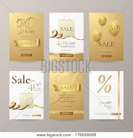 Set of stylish banners for sale with golden ribbons, paper shopping bag and balloons. Vector template for discount offers on the website with gold and white background. Isolated from the background.