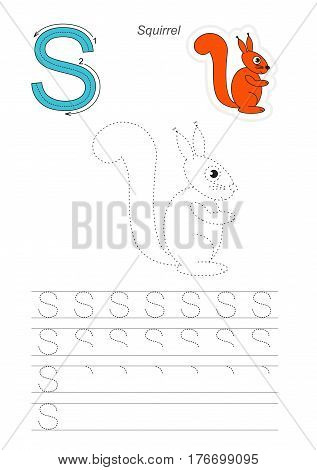 Vector illustrated worksheet to preschool children learn handwriting. Page to be traced for gaming and education with easy educational kid game level. Tracing worksheet for letter S. Squirrel.