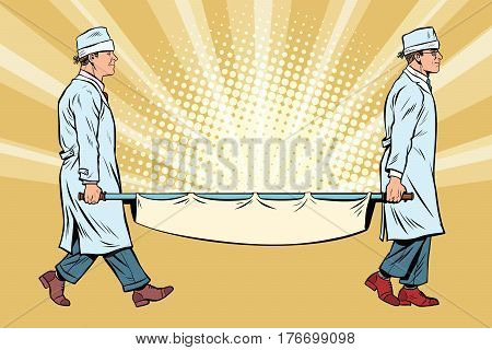Nurses doctors medical stretcher. Pop art retro vector illustration