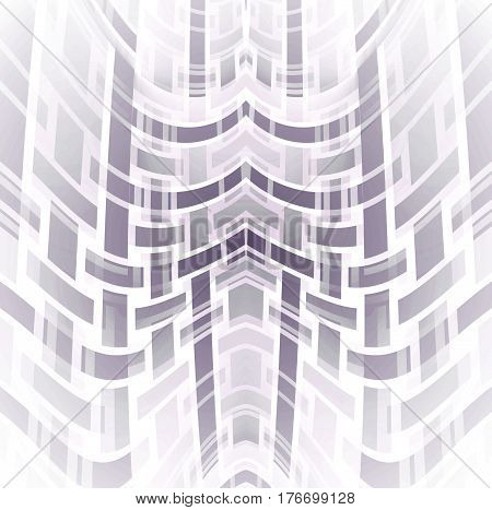 Abstract geometric modern background. Regular curved stripes pattern in white, gray and lilac shades centered.