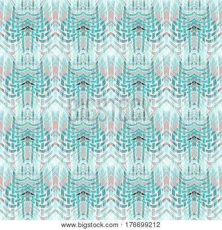 Abstract geometric seamless background. Regular curved stripes pattern in turquoise and pale green shades with pink and white.