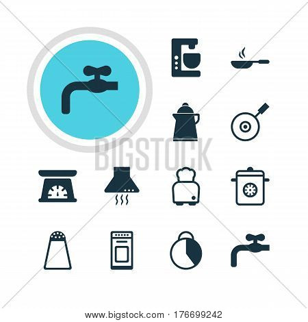 Vector Illustration Of 12 Restaurant Icons. Editable Pack Of Extractor Appliance, Faucet, Oven And Other Elements.