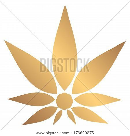 Cannabis gold silhouette logo. Hemp icons. Sign T-shirts for design creating corporate identity and promotional products.