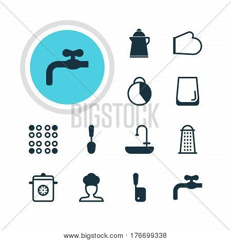 Vector Illustration Of 12 Restaurant Icons. Editable Pack Of Glass Cup, Oven Mitts, Tablespoon And Other Elements.
