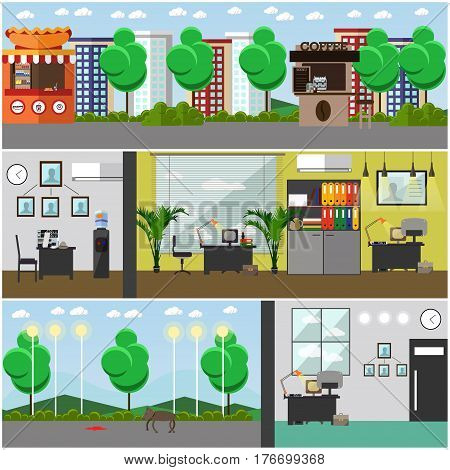 Vector set of detective office interior posters. Outdoor crime scene. Flat style design elements.