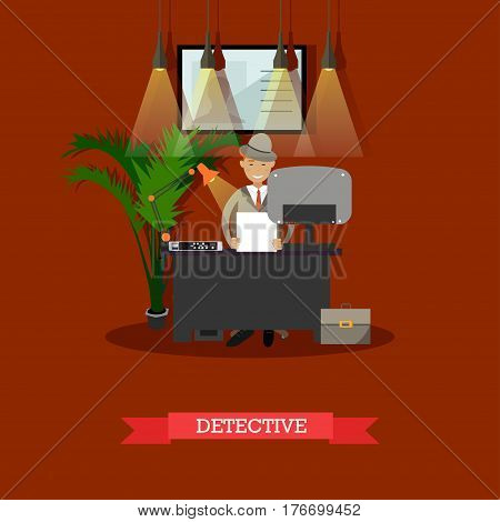Vector illustration of detective working at office. Detective agency interior. Flat style design.