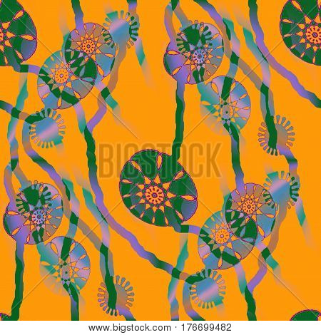Abstract geometric seamless background. Regular round floral pattern and wavy lines in orange and brown shades on purple.