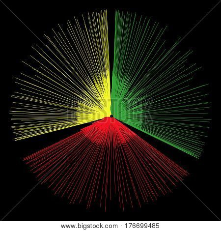 Abstract red yellow green element from the divergent thin rays. Explosion or flush for the design of posters flyers. Radial shape with lines running from the center.