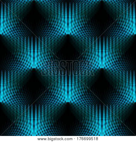 Abstract geometric seamless modern background. Regular dimensional hole pattern turquoise blue and black shifted.