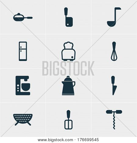 Vector Illustration Of 12 Cooking Icons. Editable Pack Of Wine Opener, Tea, Kitchen Dagger And Other Elements.