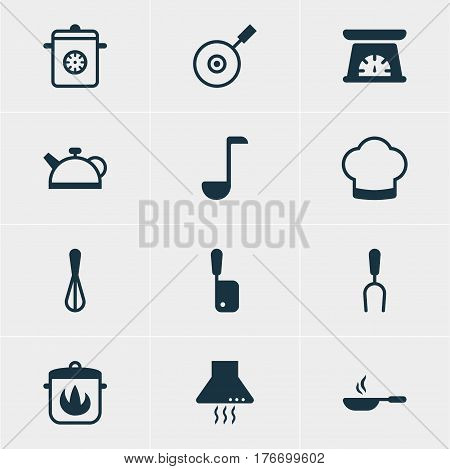 Vector Illustration Of 12 Kitchenware Icons. Editable Pack Of Butcher Knife, Skillet, Teakettle And Other Elements.