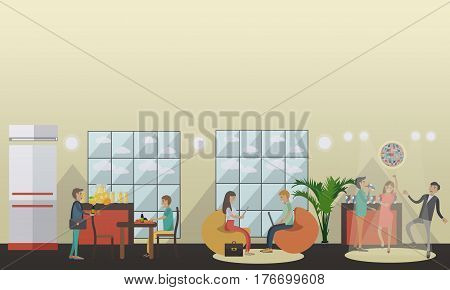 Vector illustration of university or college students relaxing in common room, having lunch in dining room and having fun at disco party. Flat style design.