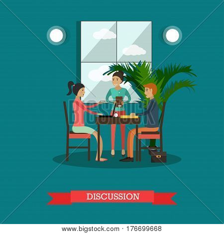 Vector illustration of group of students sitting at table and talking to each other. Young people chatting and using gadgets. Discussion concept design element in flat style.