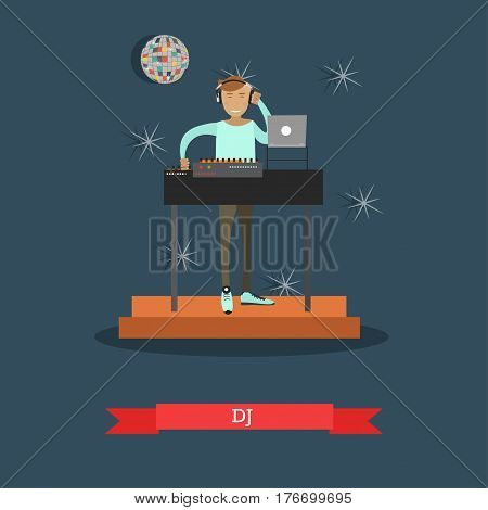 Dj and mix music equipment concept vector illustration. Disco club, nightclub party flat style design element.