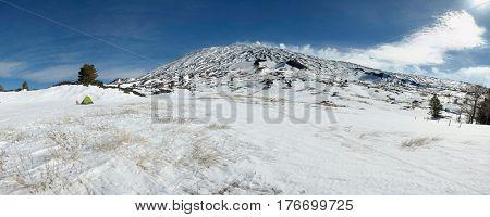 wild camp in snowy Galvarina high plateau of Etna Park, Sicily