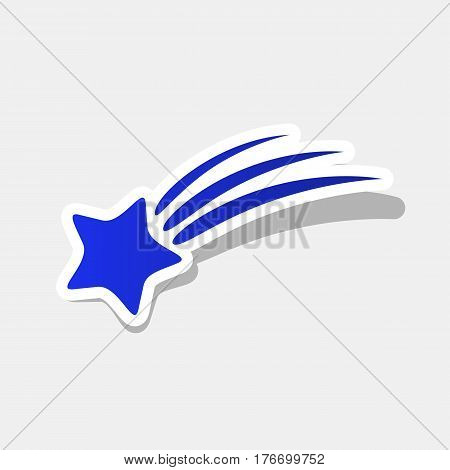 Shooting star sign. Vector. New year bluish icon with outside stroke and gray shadow on light gray background.