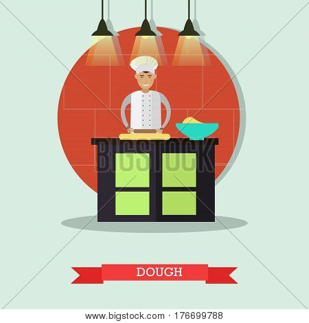 Vector illustration of restaurant cook male rolling the dough with rolling pin. Flat style design element.
