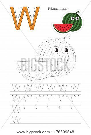 Vector illustrated worksheet. Learn handwriting. Gaming and education. Page to be traced. Easy educational kid game. Simple level. Complete eng alphabet. Tracing worksheet for letter W. Watermelon.