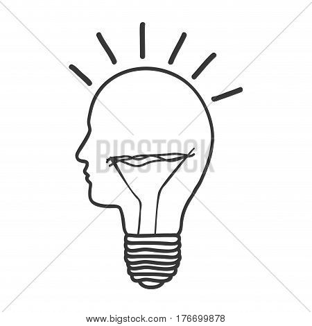 monochrome silhouette of light bulb idea with glass in shape of human face vector illustration