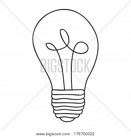 monochrome contour of light bulb with filament in spiral vector illustration