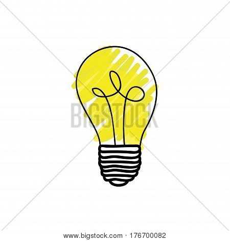 color light bulb hand drawn vector illustration
