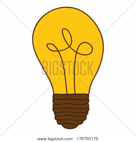 silhouette of light bulb with yellow glass vector illustration