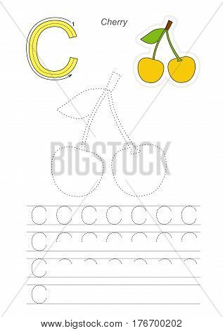 Vector illustrated worksheet to preschool children learn handwriting. Page to be traced for gaming and education with easy educational kid game level. Tracing worksheet for letter C. Cherries.