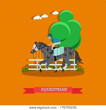 Vector illustration of beautiful dappled race horse and jockey young man. Equestrian sport concept vector illustration in flat style.