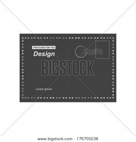 Black Vector Postcard. Postal Card For Travel. Template Design For Your Cards.