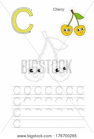 Vector illustrated worksheet to preschool children learn handwriting, the page to be traced for gaming and education with easy educational kid game level. Tracing worksheet for letter C, cherry.