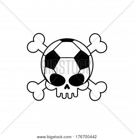 Skull Soccer Ball. Football Skeleton Head. Emblem For Sports Fans