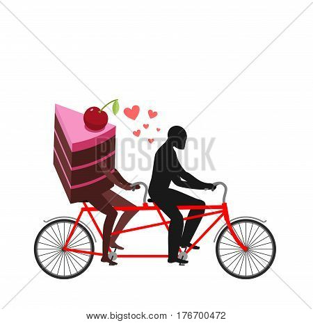 Lover Of Cakes. Man And Piece Of Cake In Tandem. Lovers Cycling. Glutton Of Lifestyle