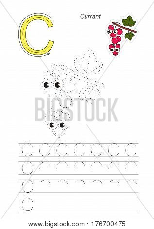 Vector illustrated worksheet to preschool children learn handwriting, the page to be traced for gaming and education with easy educational kid game level. Tracing worksheet for letter C, currant.