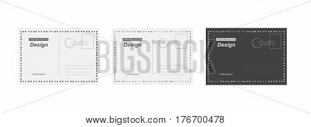Set vector postcard. Postal card for travel. Template design for your cards.