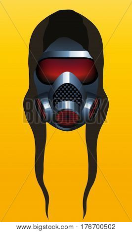 A Metallic Gas Mask Hoodie Icon On Yellow