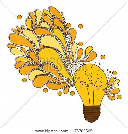 silhouette of light bulb with sparks of light vector illustration