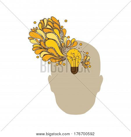silhouette of human face with light bulb with sparks of light coming out of mind vector illustration